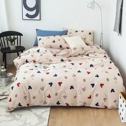 double sheet size UK - 100% Cotton Duvet Cover Bed Sheet Pillow Cases Double Queen King Size Cartoon Bedding Set lASp#