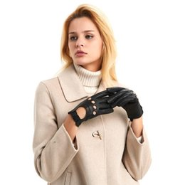 bamboo finish UK - Free Shipping Harssidanzar Womens Touchscreen Luxury Italian Lambskin Leather Driving Gloves Unlined Vintage Finished