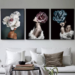 abstract art painting lady Canada - Modern Nordic Fashion Floral Lady Oil Painting on Canvas Abstract Portrait Poster Prints Wall Art Pictures for Living Room Home Decor