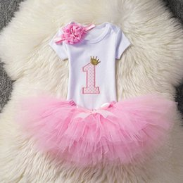 girls birthday tutu sets UK - First Birthday Tutu Outfits Sets Infant Baby Clothing Kids Party Girl Clothes Cake Fluffy Suits Baby Santa Christmas Gift 12M 8Dsi#