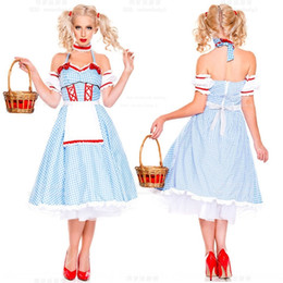 Wholesale women french maid dress resale online - New Wizard of Oz Dorothy COSPLAY costume Halloween stage costume French manor maid Stage clothes dress dress