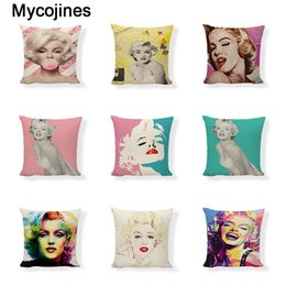 pink color cushion covers UK - Watercolor style Marilyn Monroe Cushion Cover 45x45cm Girl Pink Blue Home Bedroom Sofa Living Room Decorating Linen Print Pillow