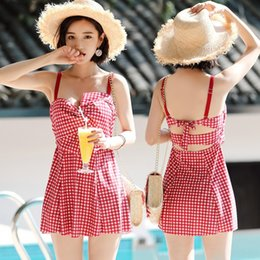 boxer swimsuit woman UK - New split skirt fashionable sexy steel bracket gathered plaid boxer two-piece for women swimsuit swimsuit