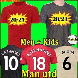 Venta al por mayor de 2020 2021 FC RASHFORD B. FERNANDES POGBA camisetas de fútbol manchester LINGARD MARTIAL LUKAKU chandal camiseta de fútbol united MAN UTD 20 21 uniformes hombre + kit de niños