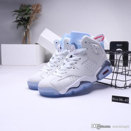 size 13 clear shoe box NZ - Cheap womens Jumpman 6s retro basketball shoes new aj6 Worldcup Clear White Cement Blue Red air flights sneakers tennis with box size 5 13