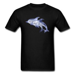 black dolphin shirt Canada - Brand New Watercolor Dolphins Printed On Men Black T-Shirt Animal Pattern Tee Shirts For Valentine's Day Novelty