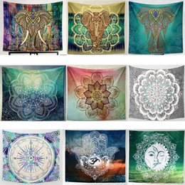 print tablecloths wholesale UK - Tapestry Wall Hanging Bohemian Mandala Beach Towels Hippie Throw Yoga Mat Tablecloth Shawl Blanket Polyester Lucky Elephant Home Decor