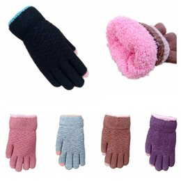 velvet touch gloves NZ - Winter women's double-layer thickened velvet warm touch screen woolen Warm and gloves knitted woolen full finger gloves