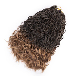 braided colored hair NZ - Gift hook Pre twisted wave hair Senegalese Twists half curl Crochet Braids 16inch Synthetic Hair Extensions 35strands natural black colored