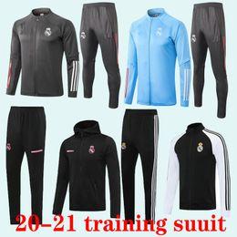 Vente en gros 2020 Real Football 2021 de Madrid hommes Survêtement adultes chandal le football tracksu 20 pantalons skinny costume de formation 21 adultes Sportswearadult