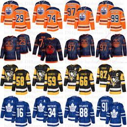 De mayor venta camisetas de hockey jersey 97 Connor McDavid 74 Oso 29 Draisaitl 87 Sidney Crosby 66 Lemieux 91 Juan Tavares 16 Marner 34 Mateo en venta