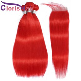 Discount red weave hair 4pcs Raw Virgin Indian Hair Weave 3 Bundles With Lace Closure Red Colored Human Hair Silk Straight 4x4 Top Closures And Exten