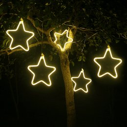 flashing christmas stars NZ - Christmas Ornament Led Flash Light Simulation Snowflake Star Lights String Chandelier Outdoor Tree Christmas Decoration Pendant Party decor