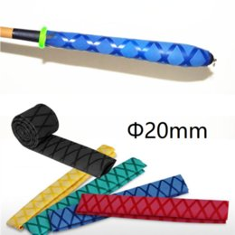 slip rod handle Canada - Dia 20mm Non Slip Heat Shrink Tube Textured Pattern DIY Insulated Fishing Rod Handle Racket Grip Wrap Cover Waterproof Sleeve 1M
