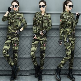 Wholesale sailor costumes for women online – ideas Outdoor sports camouflage suit for women slim cotton stretch square dance outdoor Sportswear clothing costume sailor dance costume