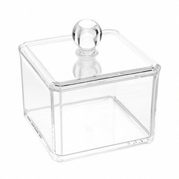 cotton acrylic Canada - Cosmetic Organizer 2 Pcs Cotton Ball And Swab Holder Organizer Clear Acrylic Cotton Pad Box Container Makeup Pads Cosmetics tfz9#