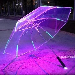 color changing umbrellas NZ - New 8 Rib Light up Blade Runner Style Changing Color LED Umbrella with Flashlight Transparent Handle Straight Umbrella Parasol T200117