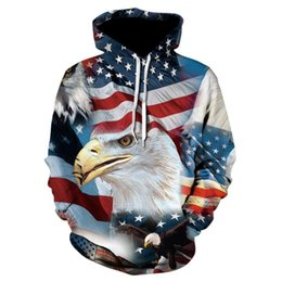 Wholesale usa flag sweatshirts online – oversize USA flag eagle print hoodie personalized print street wear hoodie animation D printed animal casual sweatshirt new