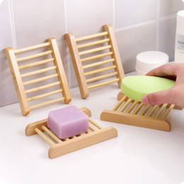 natural bamboo soap UK - Natural Bamboo Trays Wholesale Wooden Soap Dish Wooden Soap Tray Holder Rack Plate Box Container for Bath Shower Bathroom DWD608