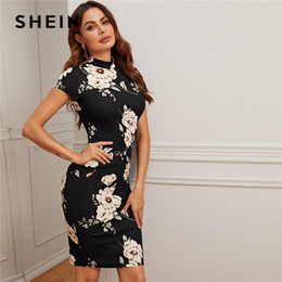 Wholesale shein dresses resale online - SHEIN Black Mock Neck Floral Print Bodycon Dress Women Spring Stand Collar Short Sleeve Elegant Fitted Midi Dresses