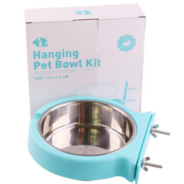 cat stainless steel feeder 2020 - Pets Puppy Dogs Cats Feeding Food Water Bowls Cage Hanging Stainless Steel Utensils Plastic Feeder discount cat stainles