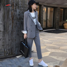 women business trouser suits NZ - Spring Autumn 2020 Women Suits 2 Piece Set Blazer Jacket & Trouser Ladies Slim Casual Pants Suits Elegant Woman Business Sets