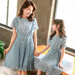 matching mommy girl clothes UK - Mom Baby Kids Girls Summer Dress for Mother Daughter Matching Clothes Outfits Mommy and Me Polka Dot Chiffon Dresses