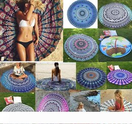 design bath towels NZ - Round Beach Towels Quick Drying outdoors Sports Swimming Towel Camping Bath Yoga Mat Blanke shawl Swimwear 46 Designs 30pcs