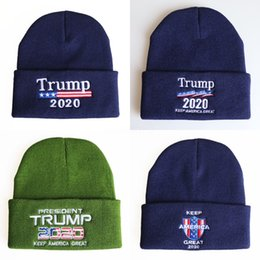 custom knit beanies NZ - KU3Re Embroidered Trump 2020 Election Cap Beanies Flag Custom Knitted Caps Election Campaign Hat American Hat#577