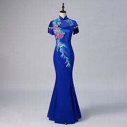 oriental chinese dress Australia - Mermaid Fashion Chinese Sexy Oriental Party Female Cheongsam Stage Show Qipao Dress Elegant Celebrity Banquet Dresses De Festa