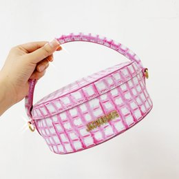 Wholesale round pattern dress for sale – plus size jacquemus new niche design pink plaid pattern portable Cake lunch box round cake lunch box bag PU leather women s bag