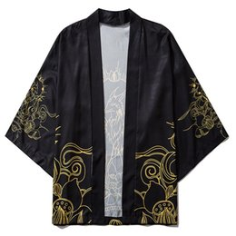 Wholesale patterns shirts resale online - Aelfric Eden Fairy Print Japanese Kimono Shirts Coats Hip Hop Mens Japanese Kimono Jackets Streetwear Open Front Jacket