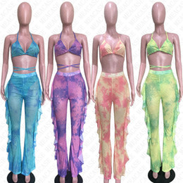 Wholesale sexy halter top bikini sets for sale – plus size Tie dye women mesh swimsuit digital print swimwear push up bra halter top pants piece bikini set tracksuit sexy tankinis D7614