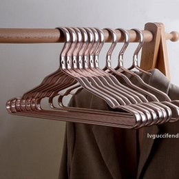 metal wardrobes Canada - 10Pcs New Aluminium Alloy Clothes Coat Hanger Durable Anti-slip Dress Clothing Towel Hangers Space Saving Wardrobe Storage Rack T200211