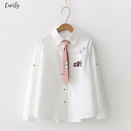 cats blouse Canada - Japan Style Blouse Women Embroidery Letter Cat Pocket Cotton Kimono Sleeve Shirt Cute Tie Top Spring Autumn 2020 Long Sleeve Blusas