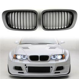 Wholesale m3 hood online – oversize Areyourshop Car Front Kidney Hood Grill Grille carbon fiber style Fit For BMW E46 D Coupe Car Auto Accessories Parts