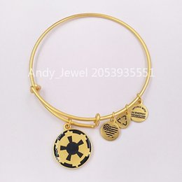 Wholesale symbols gold for sale - Group buy Authentic Sterling Silver pendants Star Warrs Imperial Symbol Charm Bangle Rafaelian Gold Fits European bear Jewelry Style Gift