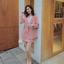 two piece skirt jacket pink Canada - Spring Autumn Women Two Piece Skirt Suit Set Vintage Double Breasted Pink Jacket Coat Office Lady Elegant Blazer Skirt Set 2020