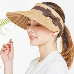 golf tennis sun visors Australia - COKK Summer Hats Women Wide Brim With Bow Sun For Beach Outdoor Straw Hat Female Tennis Visor Chapeu Feminino Toca Y200716