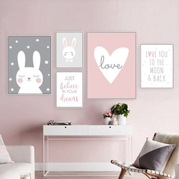 Wholesale star quotes online – design Kawaii Baby Girl Nursery Wall Art Cartoon Rabbit Star Canvas Painting Love Quote Posters and Prints Nordic Decoration Pictures
