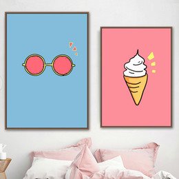 sports art paintings UK - Nordic Cream Sunglasses Posters Minimalist Art Painting Pictures Baby Wall Decor Ice And Prints Canvas Room Cute Cartoon Nursery Raaiq