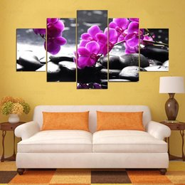 wall art purple canvas frame NZ - 5 Panel Modern Orchid, Purple Stone Hd Art Print Canvas Art Wall Framed Paintings for Living Room Wall Picture Kn-489