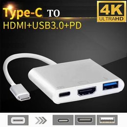 50pcs 3 in 1 Hub Type C USB 3.1 to PD USB-C 4K * 2K 1080p HDMI USB3.0 3.0 Adapter For Apple Macbook pro samsung S10 S9 S8