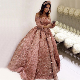 sequin lace short prom dresses Canada - Sparkly Pink Prom Dresses Long Sleeve Sequin Lace Up Ball Gown Vestidos De Fiesta Largos Elegantes De Gala 2020 Reflective Dress
