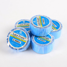 double sided toupee tape UK - Blue double-sided adhesive tape rolls at 3yards 36yards lace front support tape for hair extension lace wig toupee