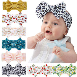 green turban 2021 - Fashion Kids Baby Bowknot Headband Infant Leopard Dot Striped Heart Print Hairband Toddlers Soft Stretch Turban for Girls Hair Accessories
