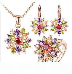 necklace jewlery UK - New 18K Rose Gold Plated Engamement Jewlery Sets for Women with High Quality Multicolor 3A Zircon Wedding Jewelry Fashion accessories