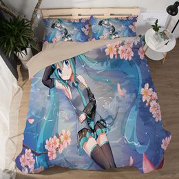 cartoon miku Australia - Anime Cartoon Hatsune Miku Quilt Cover Soft Printed Bedding Set With Pillow Cases Bed Sheet flower girls twin Duvet Cover Sets