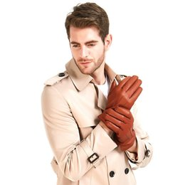 bamboo finish UK - Freeshipping Harssidanzar Mens Winter Leather Gloves Vintage Finished Cashmere Wool Lined