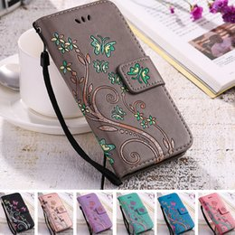 iphone leather case clip Australia - YiKELO Print Butterfly Fly Flower Leather Flip Book Wallet Cell Phone Case Soft Cover for Apple iphone 5 5s SE 6 6s 7 Plus 7plus